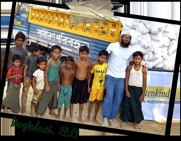Lebensmittelverteilung an geflüchtete Rohingya in Bangladesch, 2020